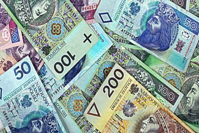 Money background. Banknotes from Poland. Financial texture abstract.