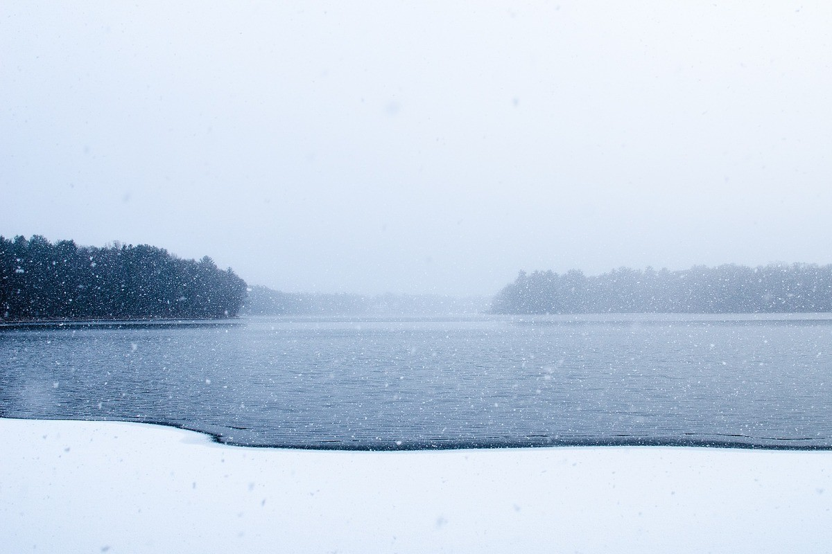lód, rzeka