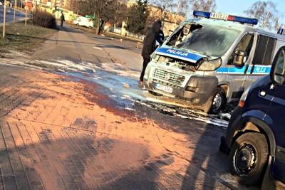 policja, radiowóz, pożar