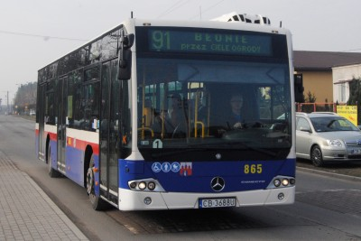 Autobus - linia 91, Błonie, Białe Błota, ulica Centralna - LG