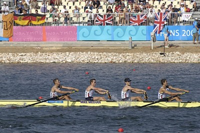 U.S. Army Capt. Matt Smith, left, World Class Athlete Program, competes in lightweight four rowing in the 2004 Olympics in Athens, Greece.