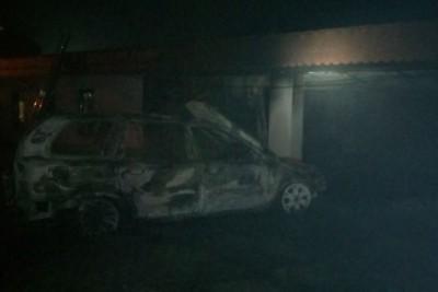 spalony samochód - osp ksrg koronowo