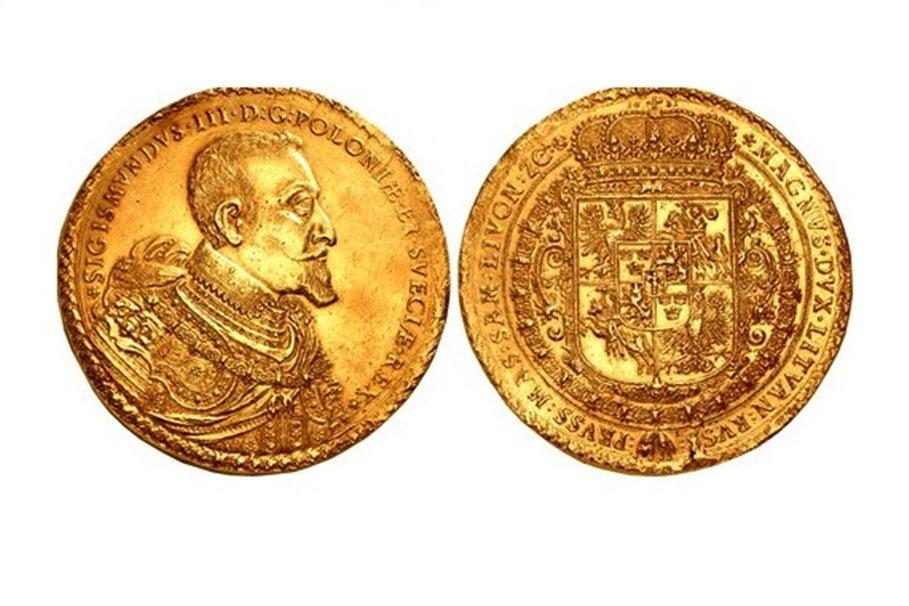 moneta zygmunta, dukat, mennica bydgoska - dom aukcyjny