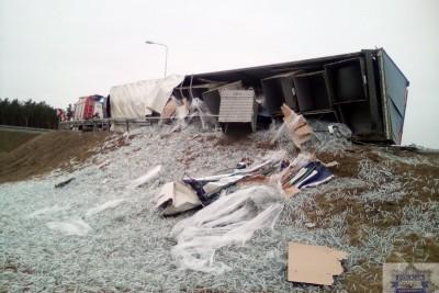 wypadek, tir, autostrada a1, ciechocinek - kpp ciechocinek (1)