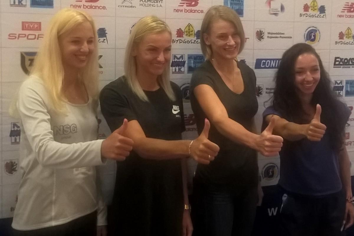 Karolina Kołeczek, Patrycja Wyciszkiewicz, Justyna Święty-Ersetic, Sofia Ennaoui - konferencja przed Bydgoszcz Cup 2018_ SF