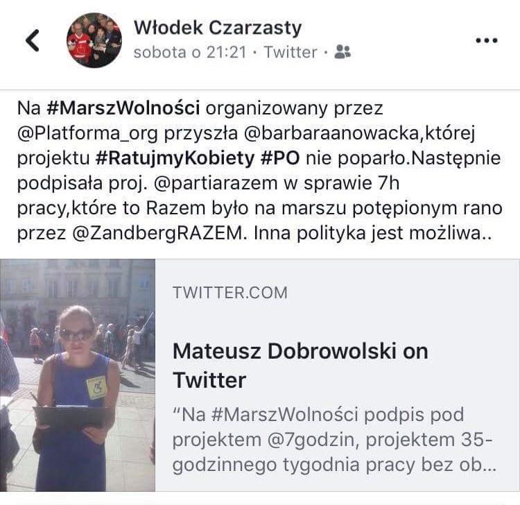 screen Czarzasty o Nowackiej