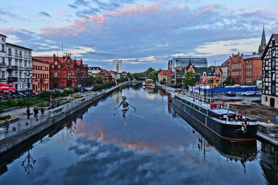 River Old Town View Urban Bridge Canal Bydgoszcz