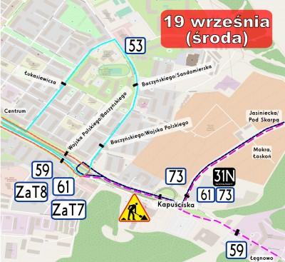 Kapuściska_19.09 - mapka kursowania autobusów