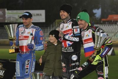 Asy dla Tomasza Golloba - podium Bartosz Zmarzlik, Tai Woffinden, Martin Vaculik_ SF