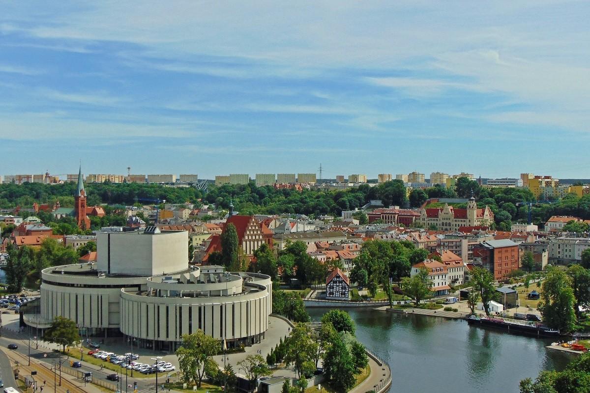 bydgoszcz widok panorama wyspa młyńska opera nova stare miasto