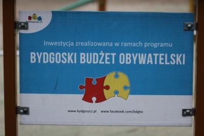 Tabliczka - inwestycja zrealizowana w ramach Bydgoskiego Budżetu Obywatelskiego - SF