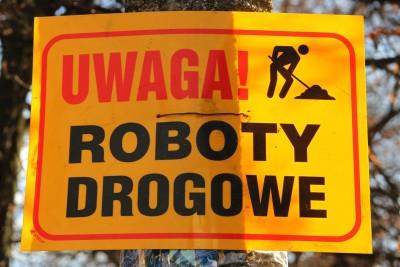 Tabliczka_ Uwaga - Roboty Drogowe - SF