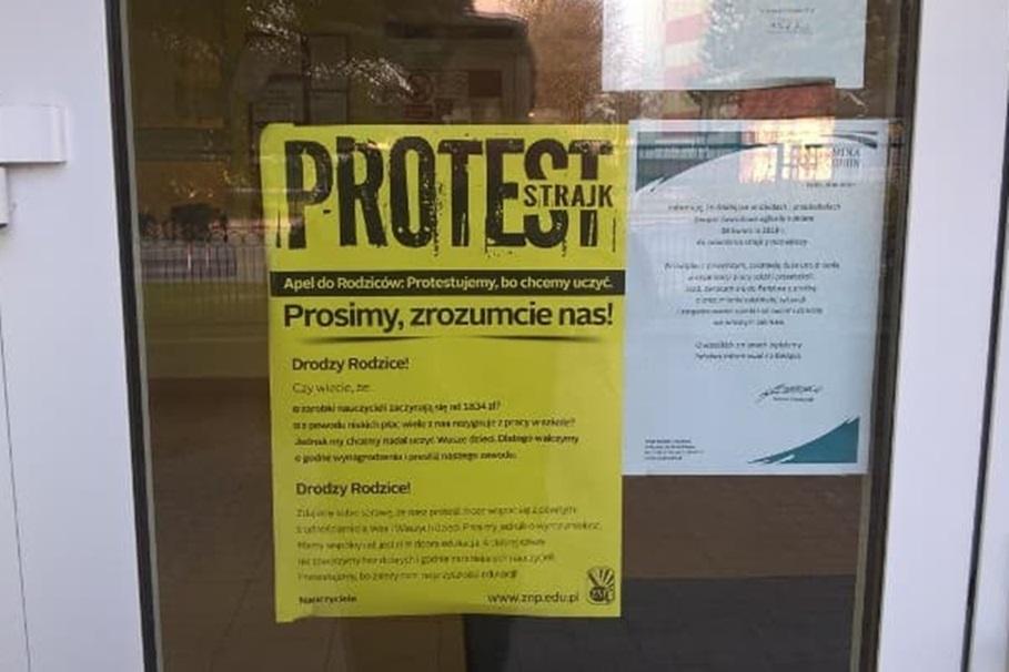strajk nauczycieli, protest - SF