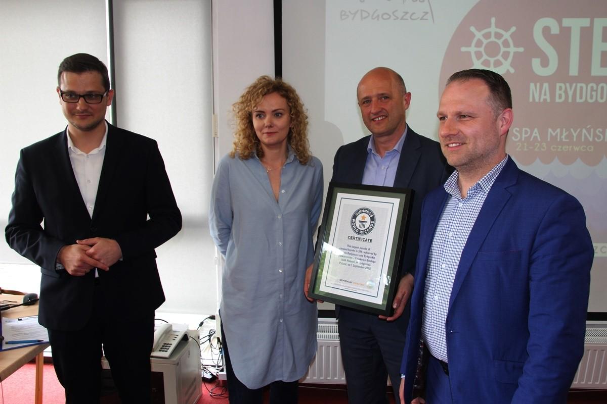 Michał Sztybel, Daria Kieraszewicz, Łukasz Gliński, Łukasz Krupa_ konferencja Ster na Bydgoszcz - Przystań Bydgoszcz - SF