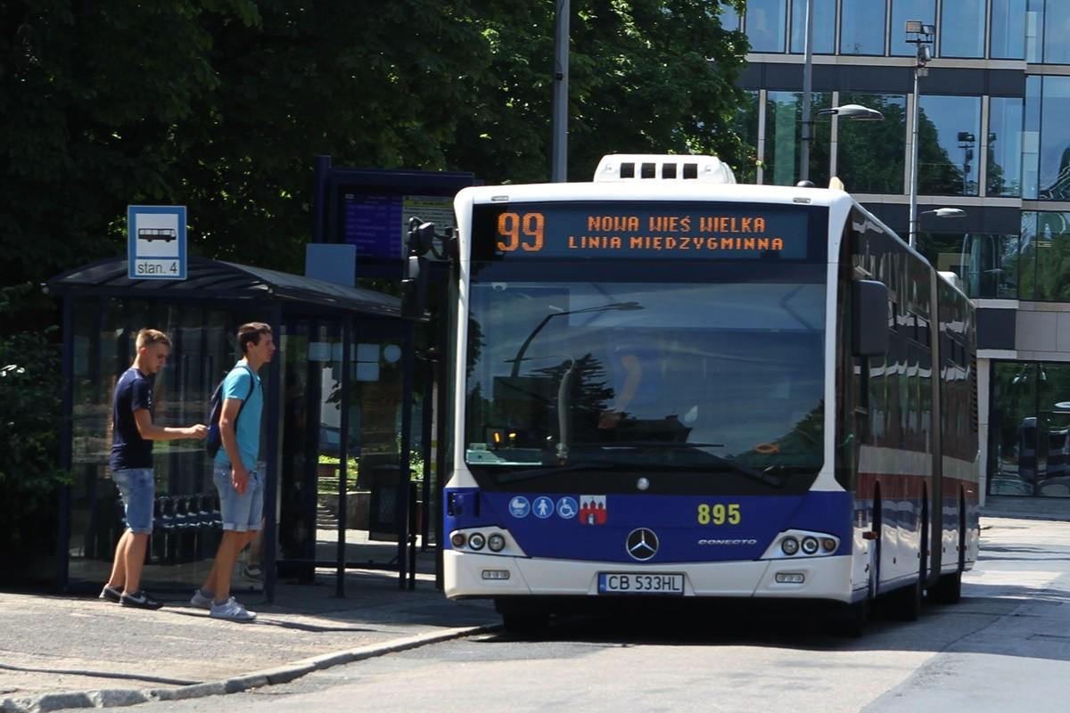 Autobus - linia 99, kierunek Nowa Wieś Wielka - pętla plac Kościeleckich - SF