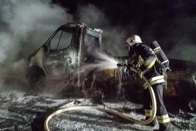 pożar samochodu - DK25 Lucim - OSP KSRG Mąkowarsko-3
