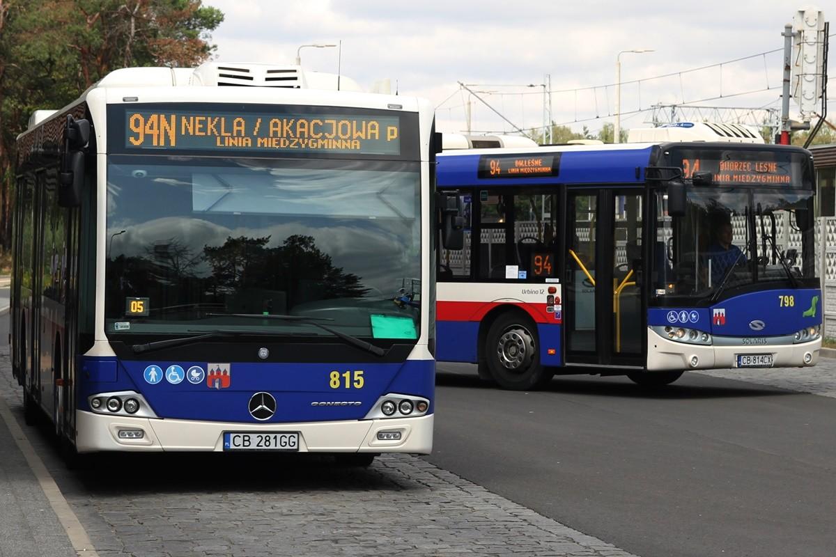Autobus - linia 94N, kierunek Nekla-Akacjowa, przez Maksymilianowo, Żołędowo, Osielsko-Szkoła_ linia międzygminna_ dworzec Leśne - SF