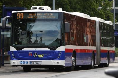 Autobus - linia międzygminna 99, kierunek Nowa Wieś Wielka - przystanek pętla plac Kościeleckich - SF