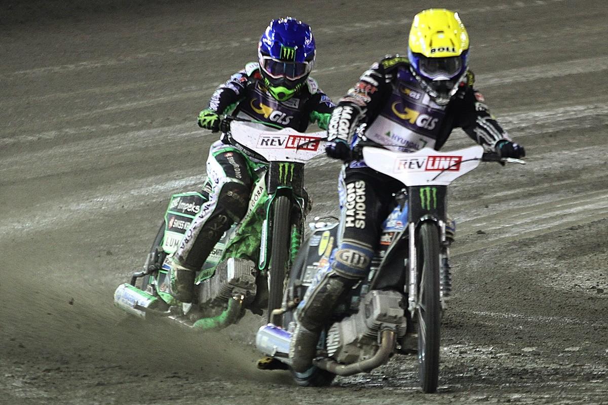 5-10-2019_ FIM Revline Grand Prix Polski na żużlu - Toruń - bieg 17_ Jason Doyle (ż), Patryk Dudek (n) - SF