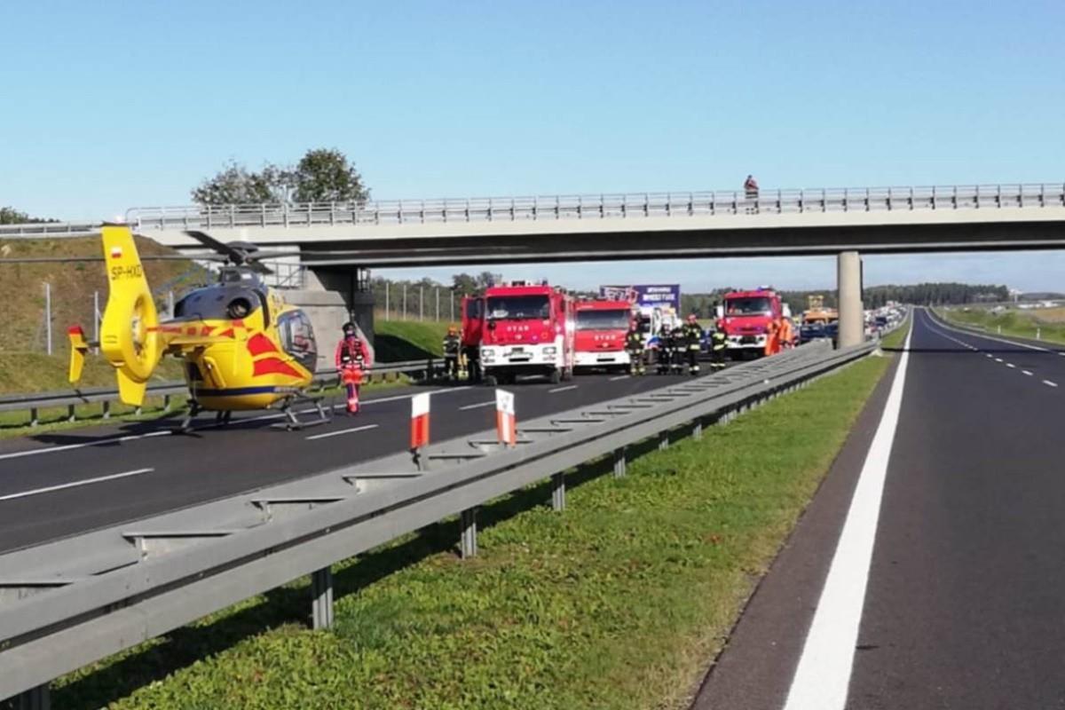 7-10-2019_ wypadek - autostrada A1 Rulewo, pow. świecki - KPP Świecie (3)