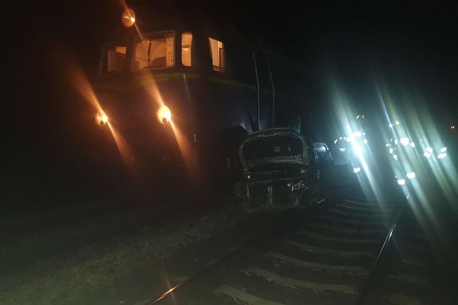 1-12-2019_ wypadek, przejazd kolejowy Gajewo - OSP Warlubie