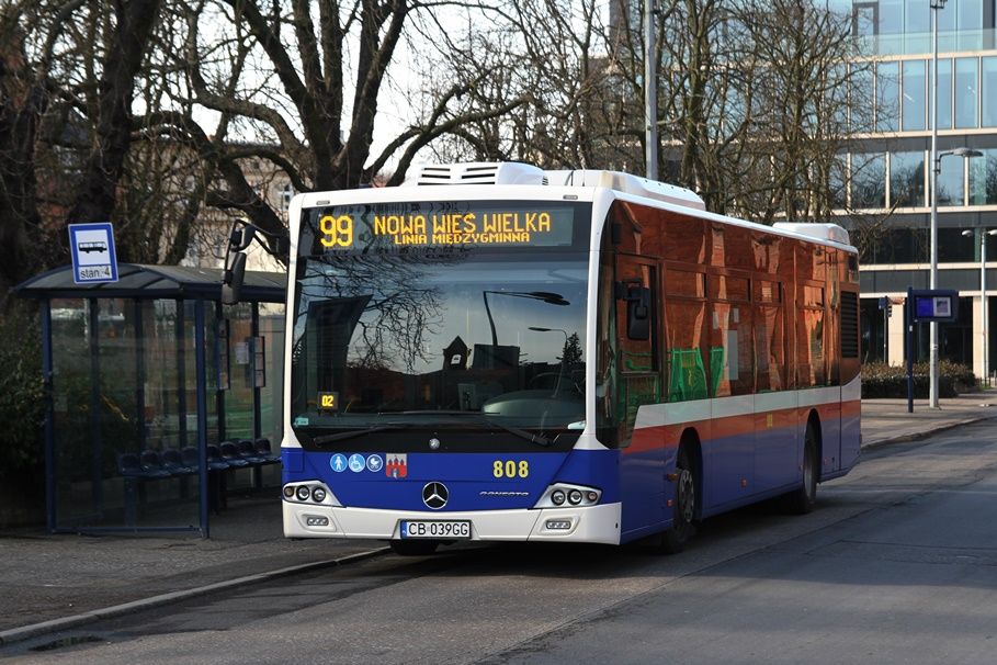Autobus - linia międzygminna 99, kierunek Nowa Wieś Wielka_ pętla plac Kościeleckich - SF