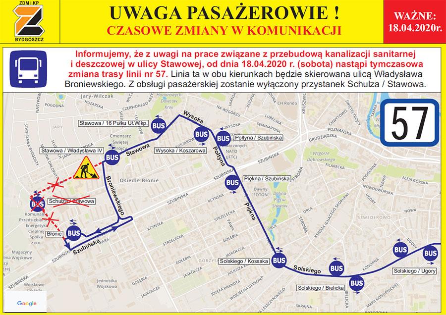 linia57_zmiana_trasy_Stawowa_remont_ZDMiKP