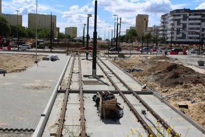 30-05-2020_ budowa linii tramwajowej_ Kujawska, rondo Bernardyńskie Bydgoszcz - JS (43)