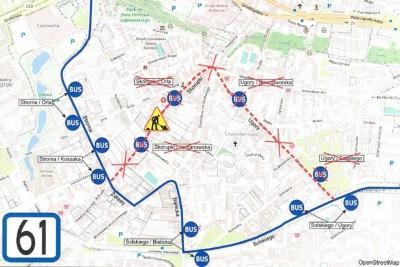6-07-2020_mapka, zmiana organizacji ruchu, komunikacja miejska, autobus - linia 61_ ZDMiKP