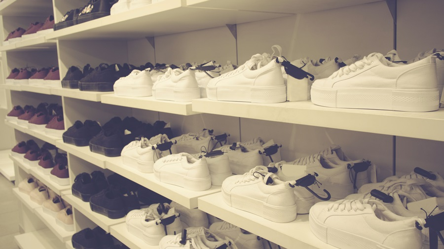 sneakers in the store on the shelves