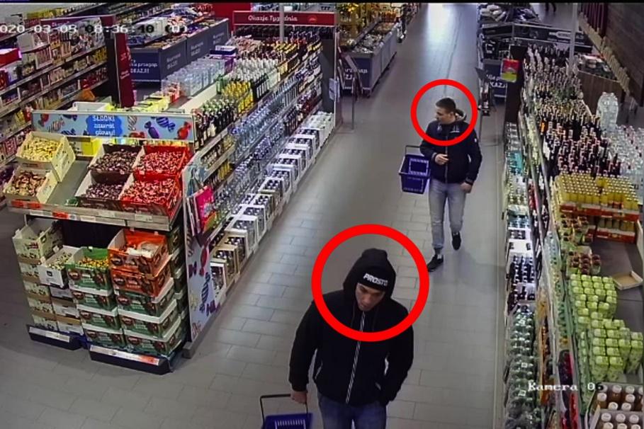 kradzież_butelki whisky_wizerunek_sprawcy_KMP Toruń_kadr z monitoringu