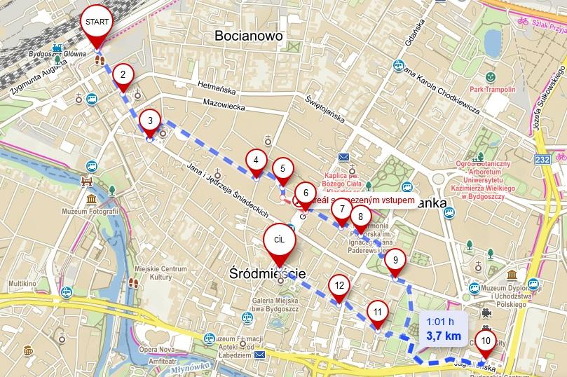 mapa spacer badawczy piesi