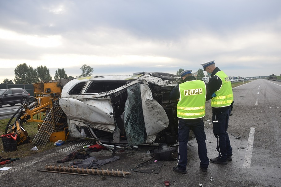 30-09-2020_wypadek, autostrada A1 Czerniewice_KMP Włocławek-3