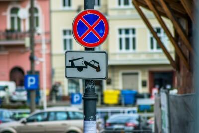 zakaz parkowania, centrum miasta - kk