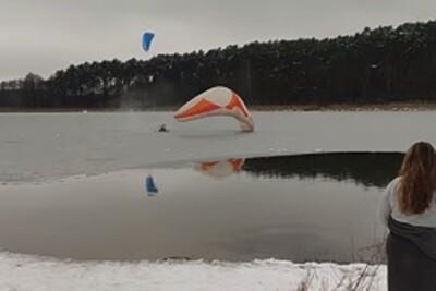 10-01-2021_Piecki_Paralotniarz_Jezioro Jezuickie_nadesłane_kadr z wideo